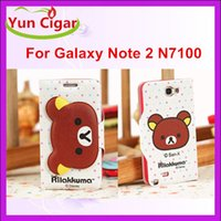 Wholesale Fashion Cartoon Rilakkuma Bear Wallet Flip PU Leather Case Cover With Credit Card Slot TPU inner For Samsung Galaxy Note N7100