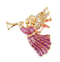 alloy trumpets - Christmas Ornaments Pins Brooches Angel Trumpeting with Crystal Rhinestone Metal Alloy Creative Style Brooch Clothing Decoration