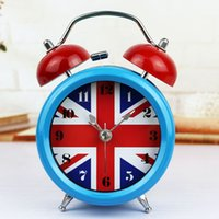 bedside tables uk - Europe Style UK Flag Silent Backlight Metal Alarm Clock Twin Double Bell Bedside Table Decoration Clock