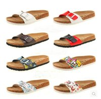 Wholesale New summer woman men flats sandals Cork slippers unisex casual shoes print mixed colors flip flop