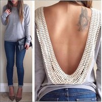 Wholesale 2015 Spring hoody New Backless hollow out Pullovers Casual Solid Lace Sweatshirt Long Sleeve Women Hoodies
