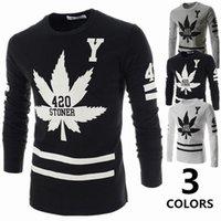 alphanumeric shirt - 2015 New arrival menswear fashion slim Men T shirt Maple Leaf alphanumeric print long sleeved metrosexual t shirt