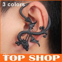 Wholesale Punk Earrings Womens Alloy colors Dragon Ear Cuff Gothic Valentine s Day Halloween Easter ChirstmasHook earrings Ear Clip ZB0033