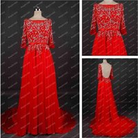 Wholesale Real Picture Crystal Diamond Beaded Muslim Long Red Yellow Purple Evening Dresses With Sleeves Crew Neck High Low Back Formal Evening Gowns