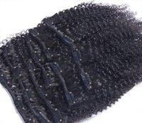 Wholesale Human hair clip in hair extension A brazilian virgin kinky curly human hair hot beauty hair