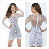 Wholesale Roman Long Sleeve Super Short Cocktail Dresses Sheer Crew Decorate Most Multicolor Beads Crystal Sexy Sheath Party Homecoming Prom Dresses