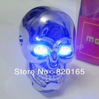 Wholesale Universal MT Silver Skull Gear Stick Lever Shift Knob for Sport Racing Car Auto with Blue Red LED Eyes Skull Metal Shifter