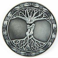 wicca - Vintage Silver Celtic Tree Of Life Love Nordic Mythology Belt Buckle Pagan Wicca