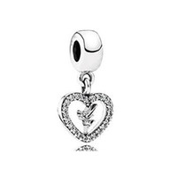 Animals 925 sterling silver charms - Silver charm Tinkerbell Dangle Heart Charm with CZ New Sterling Silver Charms European Bracelet DIY Jewelry AC3539