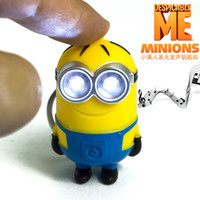 Wholesale New Despicable Me Cute Minion LED Keychain Key Chain Ring Flashlight Torch Sound Toy Promotion Novelty Gift Lover children christmas gift
