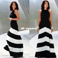 Wholesale Women sexy Long Maxi dress vestidos summer casual party dress Beach Black White Striped Backless Dresses XGJ211