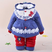 Cheap Winter New product Girls Ultra thick Super warm Korean version Cotton-padded clothes Two piece suit