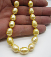 Wholesale Very attractive mm Natural south sea baroque yellow pearl necklace quot k
