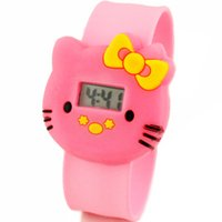 cheap digital watches - Cheap Hot Selling Lovely Girls Hello Kitty Cartoon PAPA Watches Christmas Slap Watches Safe Silicone Cute Cartoon Character