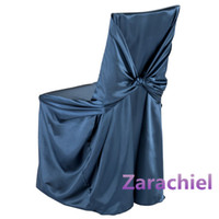 Wholesale High Quality White Black Bag Self Tie Satin Chair Cover For Wedding chair Banquet chair