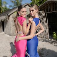 beaded shirt patterns - 2016 Tarik Ediz V Neck Prom Dresses Evening Wear Mermaid Trumpet Hand Made Flowers Beaded Blush Evening Gowns Long Blue Backless