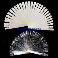 Wholesale 50Pcs White Clear Natural False Nail Art Tips Sticks Polish Display Fan Practice Tool Board Nails Tools