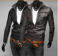 Wholesale Fashion Designer Jackets Men Leather Jackets Mens motorcycle Coats Winter Warm Jackets Men Trench Coats Lapel Neck High Quality fall coats