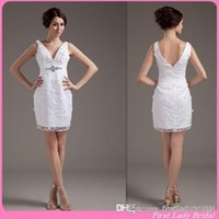 Cheap Sheath/Column Short Wedding Dresses Best Reference Images V-Neck wedding dresses lace
