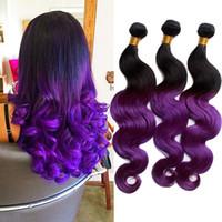 al por mayor ombre púrpura armadura del pelo peruano-Dos tonos armadura del pelo humano 100g 3 Bundle Purple extensiones de cabello Ombre Ombre 6a peruana púrpura de la armadura del pelo