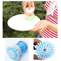 dish detergent - Novelty Kitchen Cleaning Brush With Detergent Container Wash Dish Bowl Pot Scrubber Household Portable Cleaner