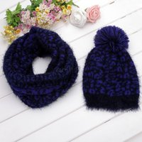 Wholesale 2014 Winter Leopard Scarf Hat Knitted Scarf And Hat Set For Women Thicken Knitted Hat Scarf set Best Quality SV012423