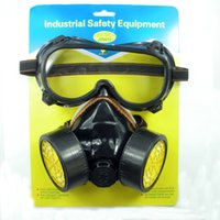 Wholesale Chemical Gas Anti Dust Paint Respirator Mask Dual gas Cartridge Goggle Glasses