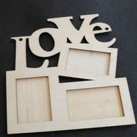 Cheap Hollow Love Wooden Photo Frame White Base DIY Picture Frame Art Decoration