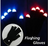 Wholesale 30Pair fashional flashing gloves multi color changing led light gloves for party and event celebration order lt no track