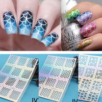 art grid - Tips Sheet Fish Scale Nail Vinyls Irregular Triangle Grid Pattern Easy Use Nail Art Tips Manicure Stencil Nail Hollow Sticker