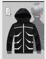 Wholesale Anime Tokyo Ghoul Ken Kaneki Halloween party Zipper black cotton Hoodie Jacket Tops cosplay Costume