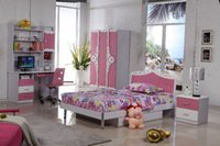 Wholesale Pink Princess Children Dream House Furniture Bedroom Furniture wood furniture Bed desk wardrobe cabinet girl bedroom MYL8830