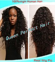 Wholesale STOCK Fashion curly Brazilian virgin human hair SIlk top full lace wig front lace wig for African Americans Freeshipping