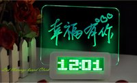Wholesale LED Fluorescent Message Board with Pen Digital Alarm Clock Calendar Night Light Wrinting any Message Lovely Gift