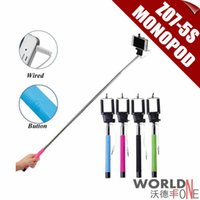 android kickstand - 10pcs Z07 S Extendable Selfie Stick Extendable MonopodTripod With Button Handheld Wired Cable Take Pole for iPhone6 IOS Android Phone
