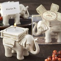 Wholesale Lucky Elephant Candles Holder Tea Light Wedding Birthday Gifts Wedding Favors quot Lucky Elephant quot Creative Romantic Clamp Supplies