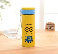 metal water bottle - Despicable Me Minions water bottles with Creative cartoon cloth cover Anti scald transparent Portable kids Water Bottle L0349c