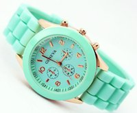 Wholesale 2014 Mint green GENEVA Brand New Soft Gold Case Silicone Band Quartz Unisex Women Gift Watch Colors