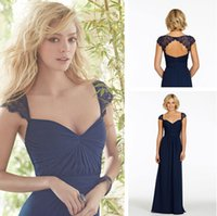 Cheap A Line Cap Sleeve Dress For Bridesmaid Sweetheart Long Dark Navy Lace Backless Sexy Floor Length Party Gown Vestidos Party