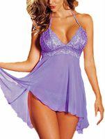 babydoll nylon - HaoYeah Lace Pajamas V neck Babydoll Lingerie sexy Lingerie Dress T Pants Set Sleepwear Babydoll Dress Costume Nightwear Sleepwear Purple
