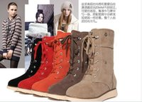 belt elevators - hot sale high boots belt british style beige medium leg plus velvet boots snow boots female elevator