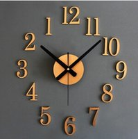 antique wood wall clock - Wood Texture Vintage Wall Clock D Tridimensional DIY Watch Wall Novelty Reverse Wall Sticker Back In Time GZ8847