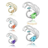 Wholesale Women Scarf Buckle Crystal Phoenix Bird Design Collar Breast Pin Brooch