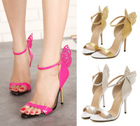 pink ladies shoes - Butterfly Pink Wedding Shoes High Heel Summer Sandals One Strap Ladies Sandals size to