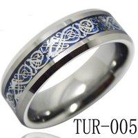 Tungsteno anillos de carburo de dragón Baratos-Joyería de moda anillo de carburo de tungsteno de 8mm azul del anillo del embutido dragón de plata del fondo para los hombres y las mujeres TUR-005