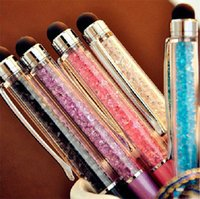 Wholesale Colorful in Swarovski Crystal Capacitive Touch Stylus Ball Pen for ipad iPhone plus S S C HTC Samsung i9500 note3