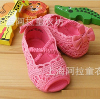 Wholesale new spring summer Babys shoes girls babys princess bow cotton crochet casual diamonds student flat sandals pearl shoes EE