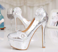 Wholesale 2015 Silver Bridesmaid Shoes Ultra High Heel Rhinestone Wedding Shoes Floral Banquet Women Platforms Birthday Prom Party Shoes