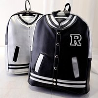 baseball school backpacks - Women Baseball Jacket Backpacks Fashion Preppy Style Girls School Bags PU Leather Dailys Backpack Ladies Doubles Shoulder Bag