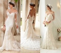off white lace bridal wedding dress - VIntage Lace Wedding Dresses Mermaid Sheer Lace Bridal Gowns Off Shoulder Covered Button Sweep Train Formal Lace Reception Dresses